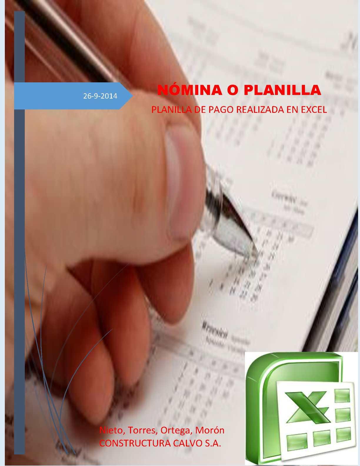 Planilla de Pago o Nomina en Excel