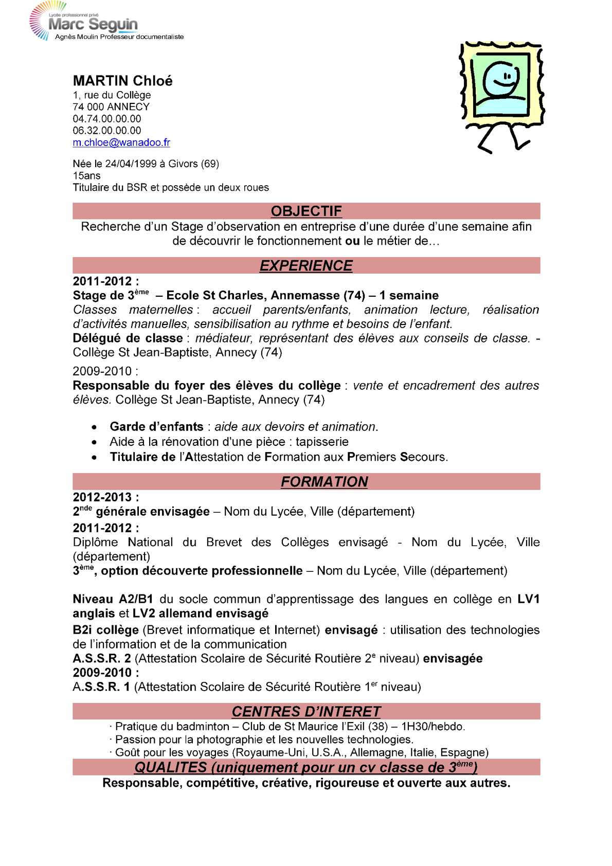 exemple de cv professeur