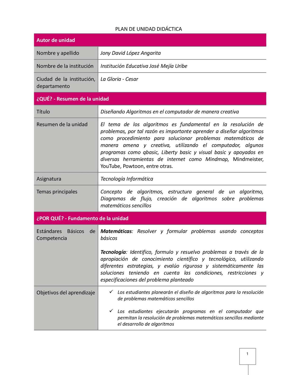Plan de unidad didactica algoritmos calameo downloader page 1 ccuart Image collections