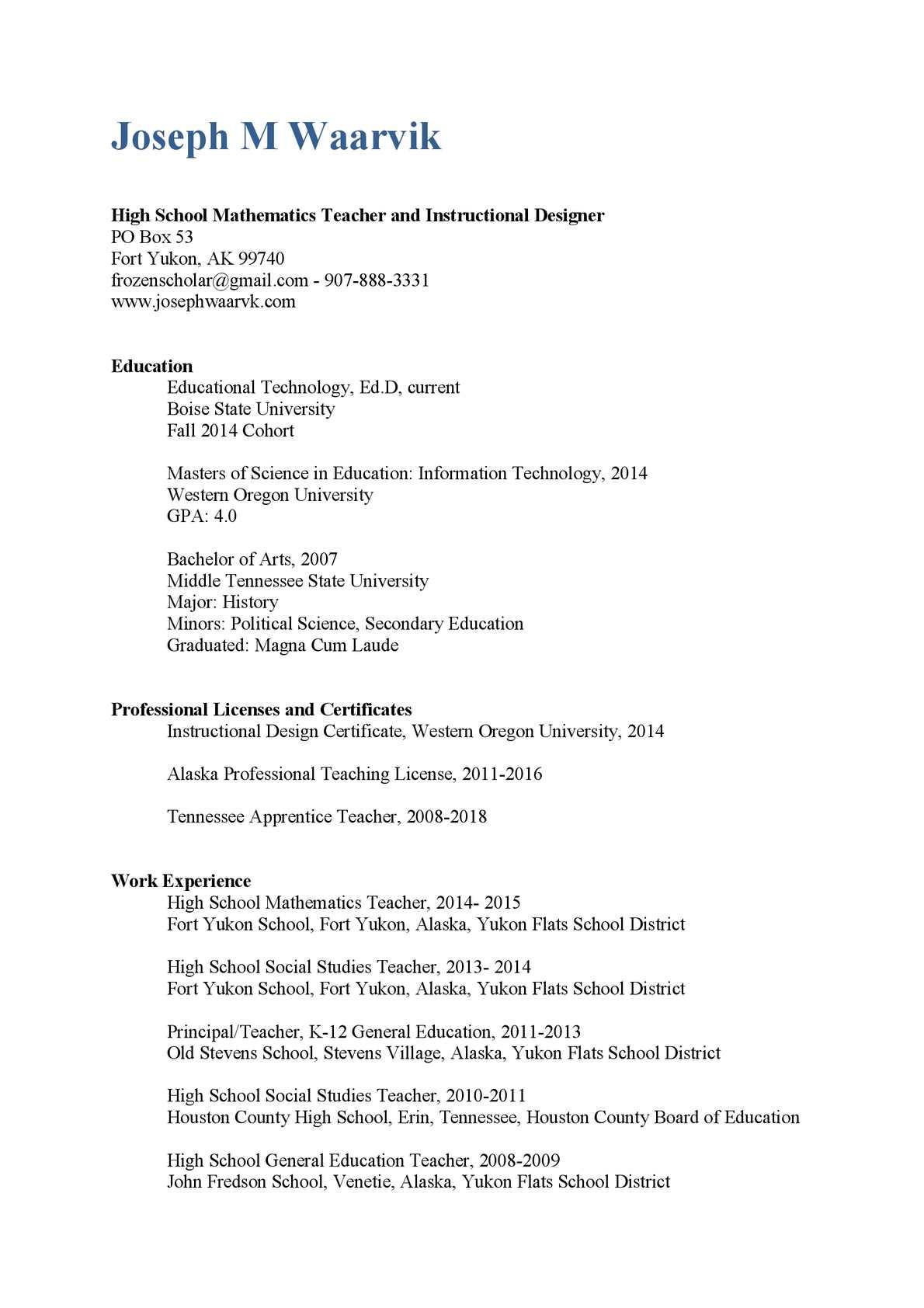 Calamo Waarvik Resume