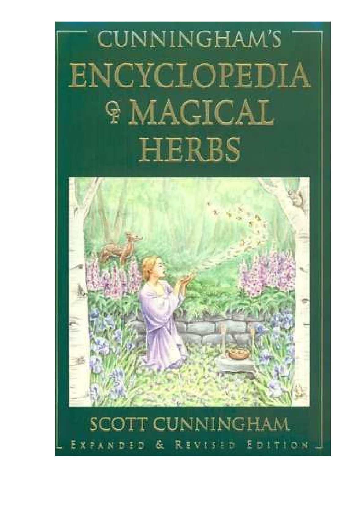 Scott Cunningham L'ENCYCLOPEDIE DES HERBES MAGIQUES Adapté de l'américain par Michel ECHELBERGER