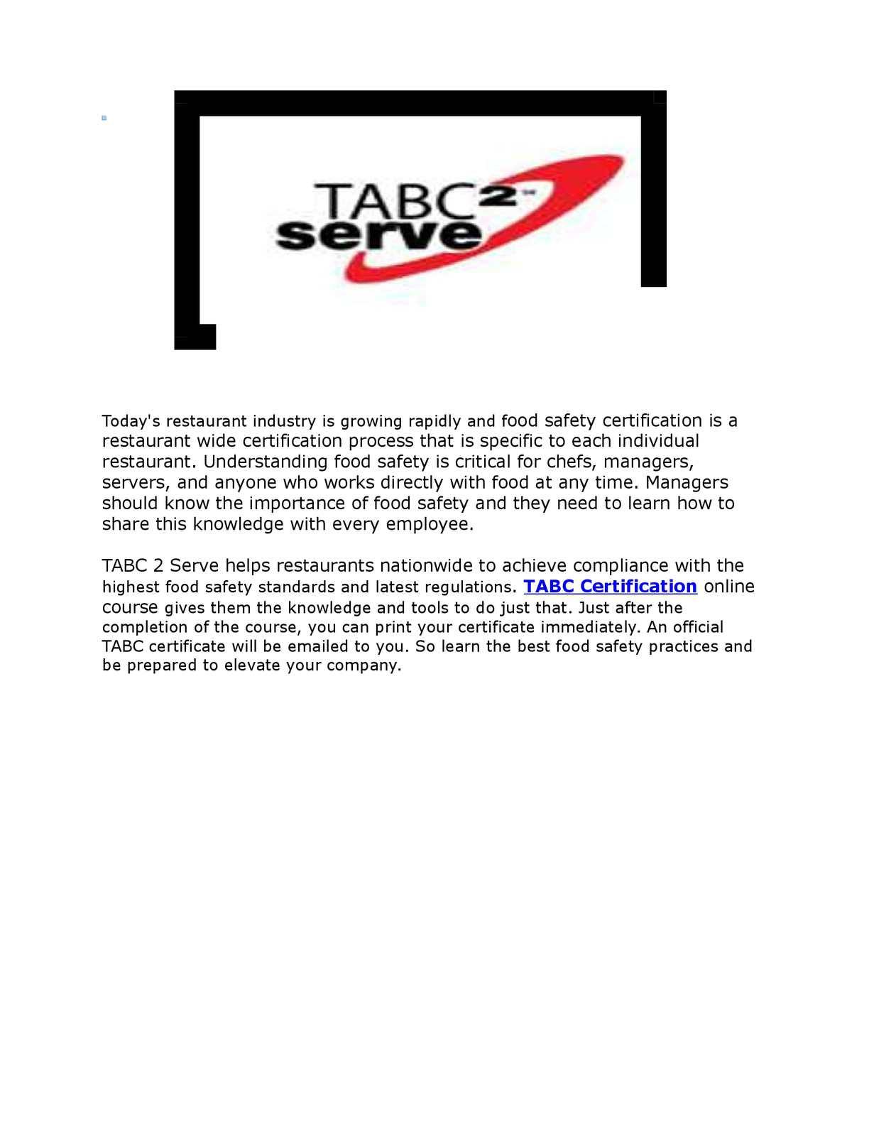 Calamo Tabc Certification