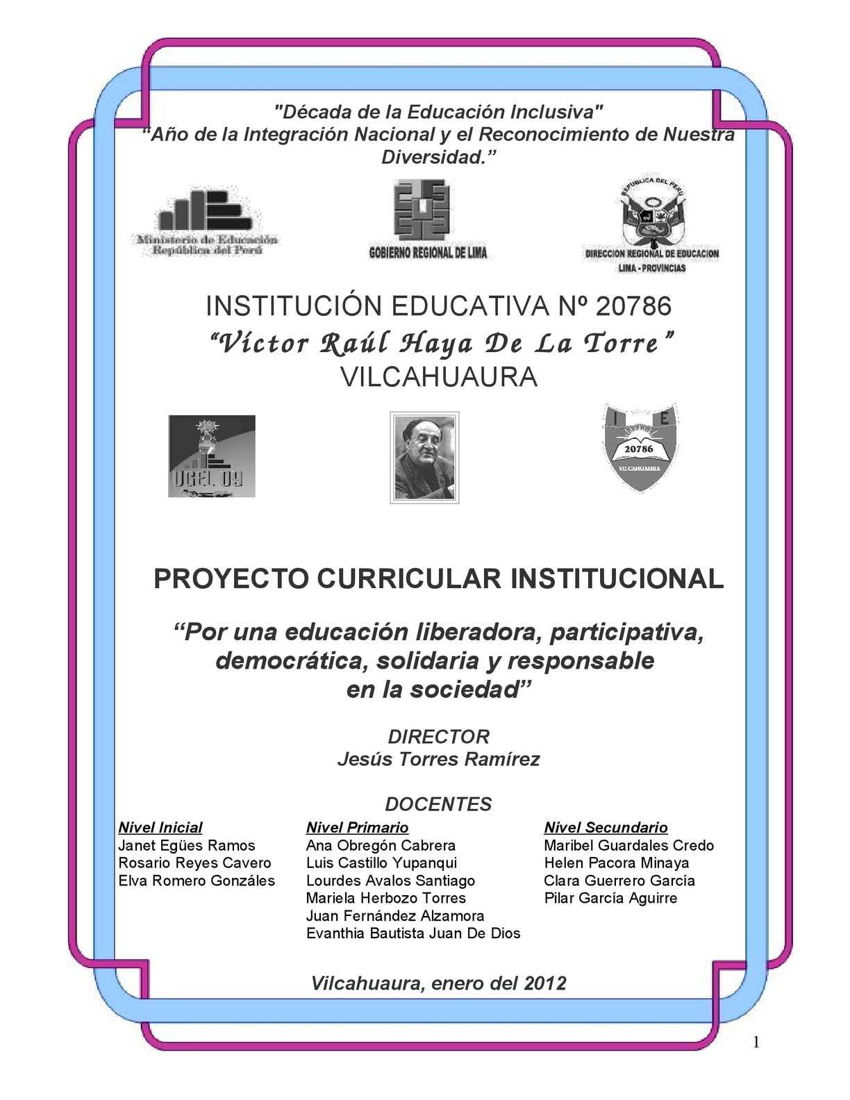 Calaméo - PROYECTO CURRICULAR DE LA IE 20786 VILCAHUAURA