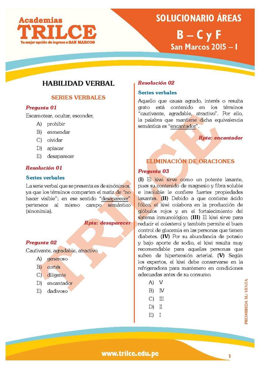 Calaméo - SOLUCIONARIO DEL EXAMEN DE ADMISION UNMSM 2015 I LETRAS