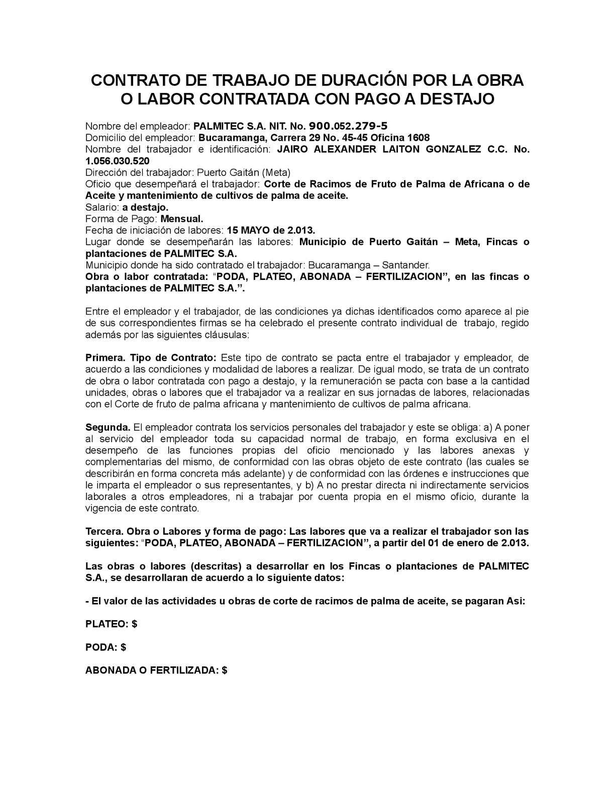 Contrato Por Obra Con Pago A Destajo Puerto Gaitan Palmitec