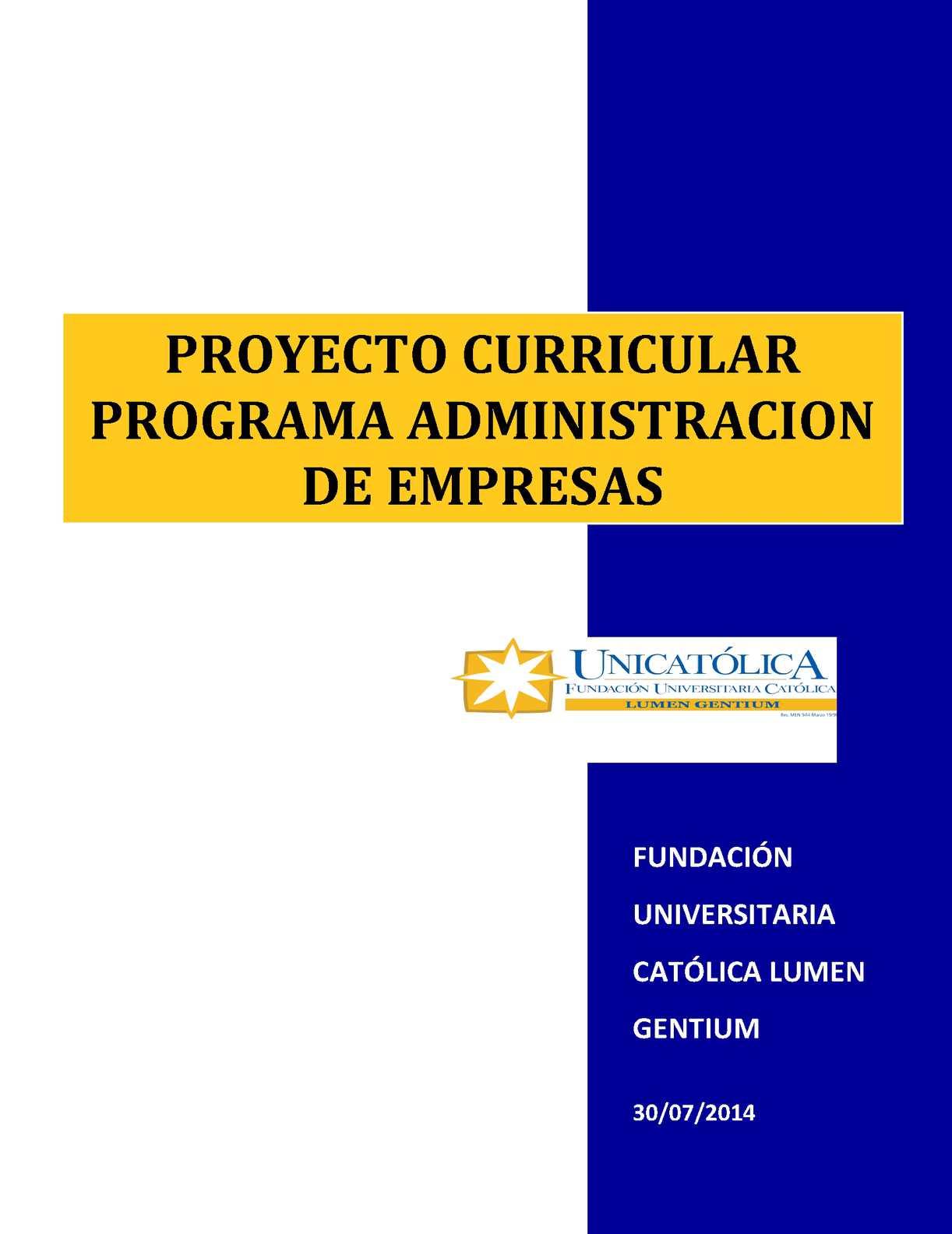Calaméo - Proyecto Curricular Programa Administracion De Empresas