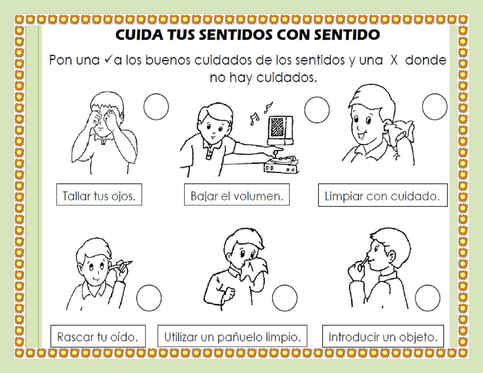 Hermosa La Página Para Colorear De Cinco Sentidos Festooning - Ideas ...