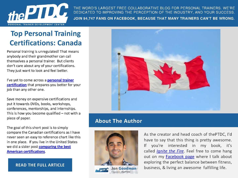 Calamo Top Personal Training Certifications Canada