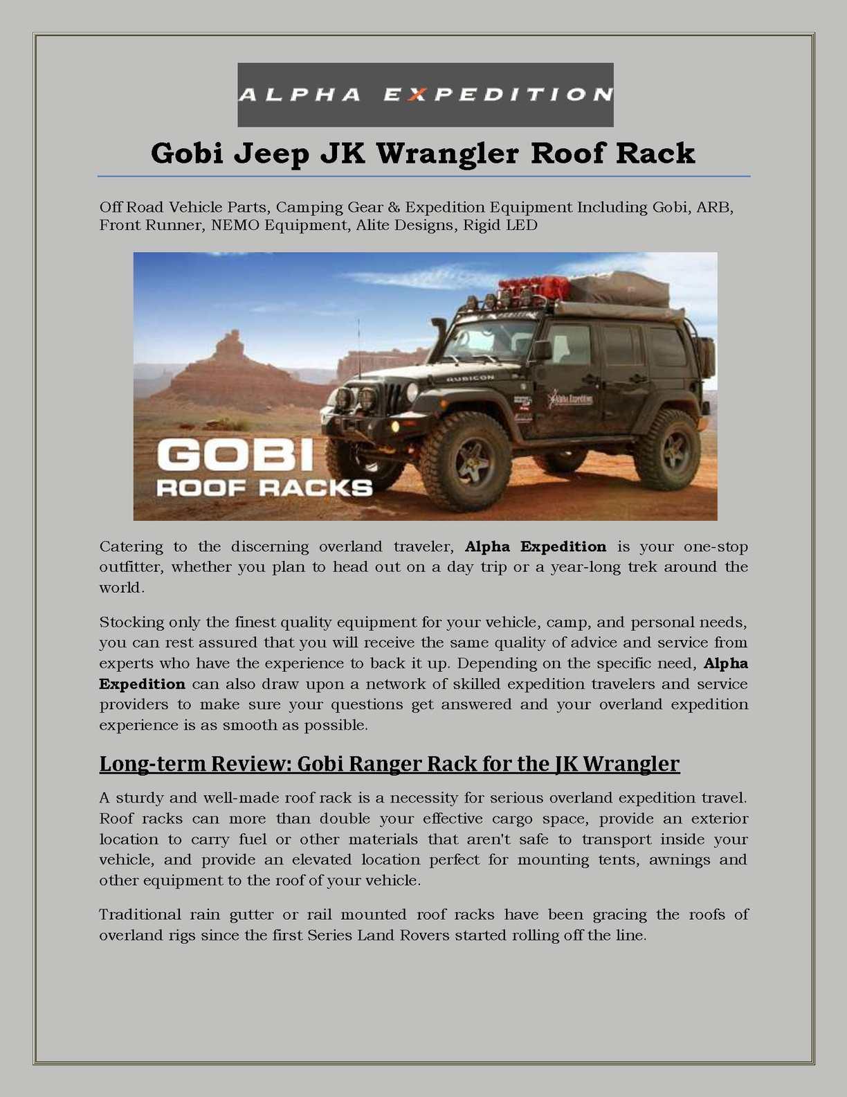 Calamo Gobi Jeep Jk Wrangler Roof Rack Expedition