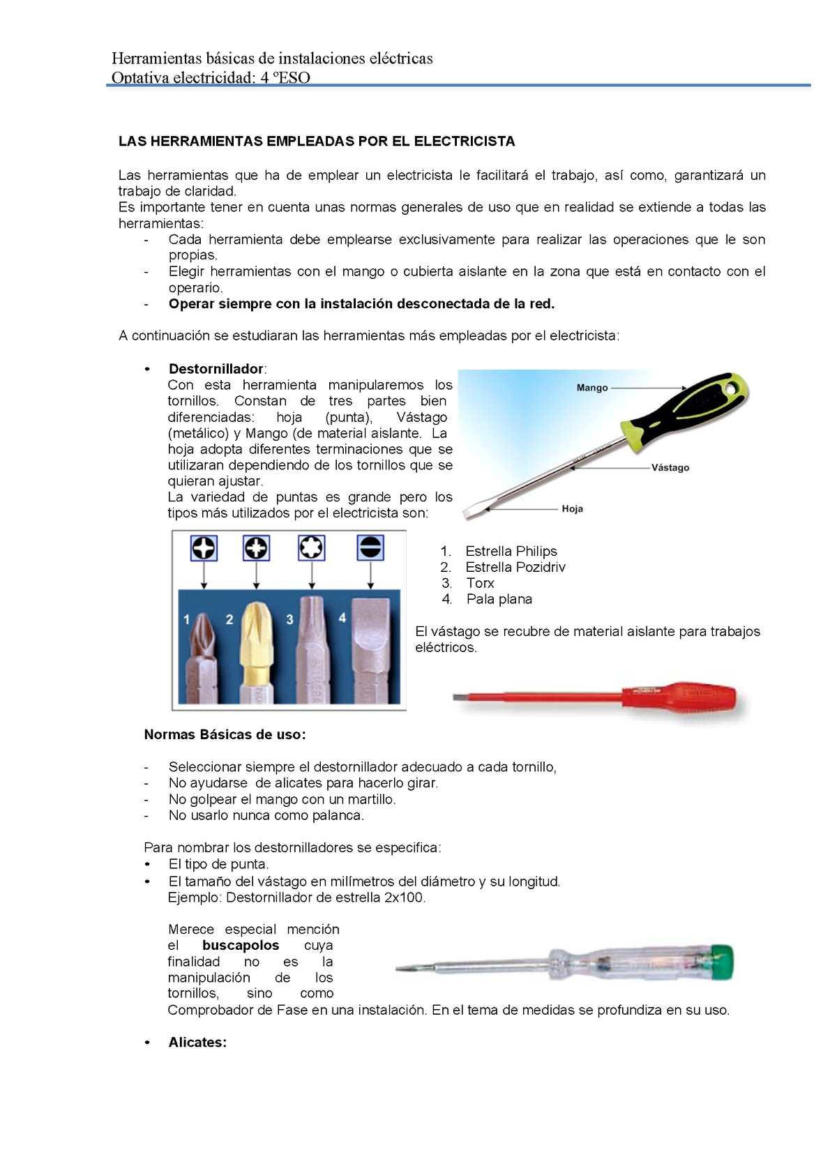 Calaméo - Las Herramientas Empleadas Por El Electricista