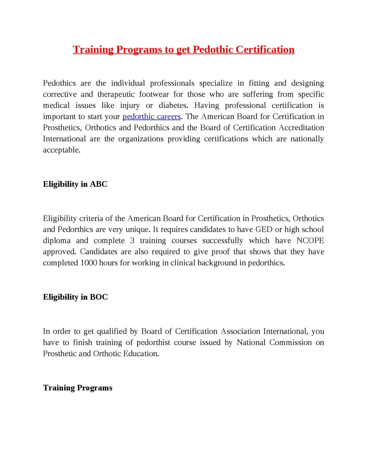 Calamo Training Programs To Get Pedothic Certification
