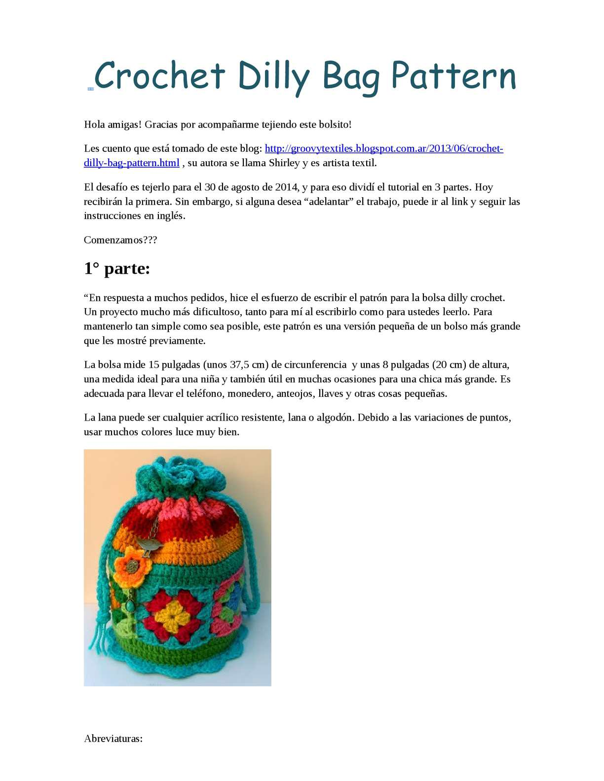 Calaméo - Crochet Dilly Bag Pattern 1°parte