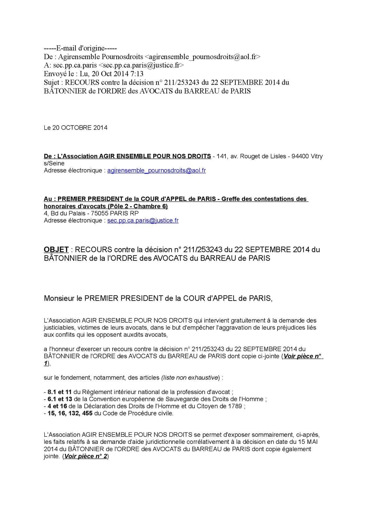 Calaméo RECOURS contre la décision n° 211 du 22 SEPTEMBRE