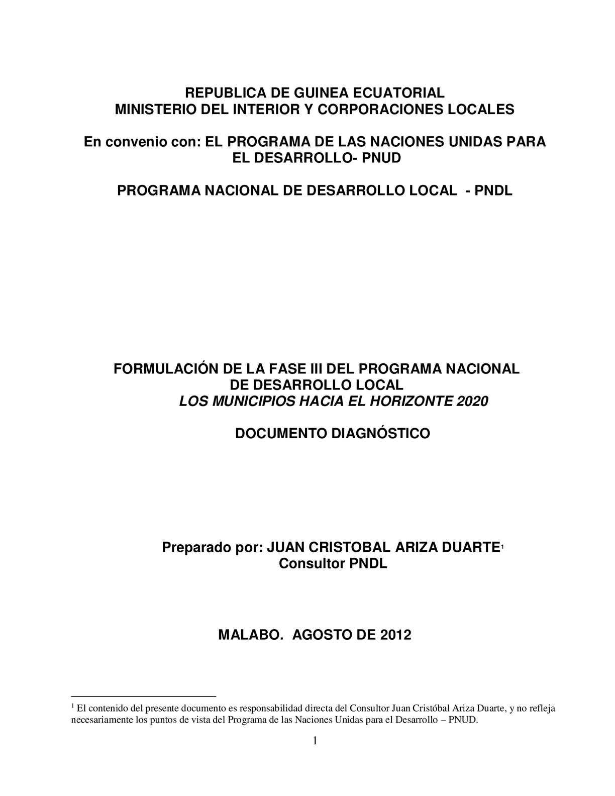 Calam o guinea ecuatorial diagnostico institucional para for El ministerio del interior