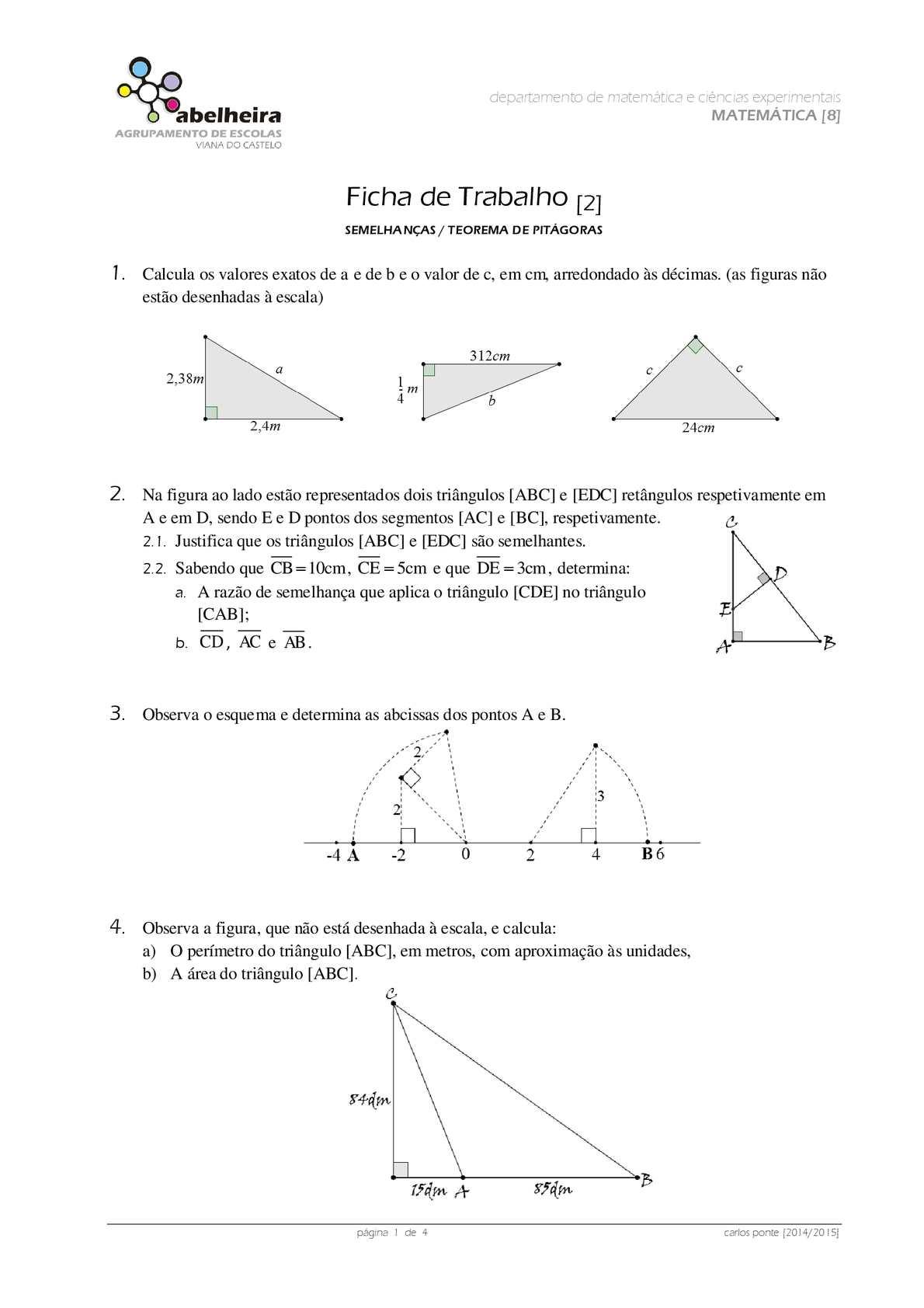 Ficha do teorema de pitágoras