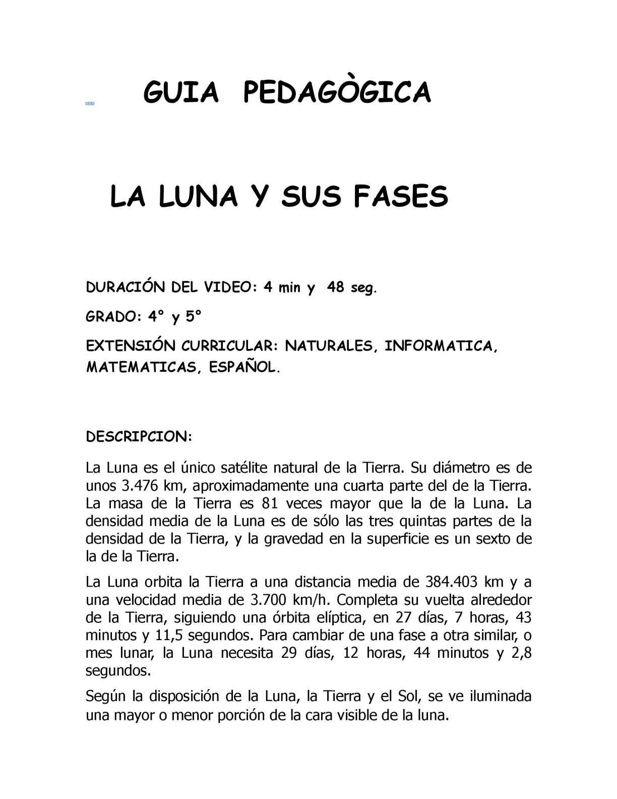 Guia Pedagògica La Luna Y Sus Fases