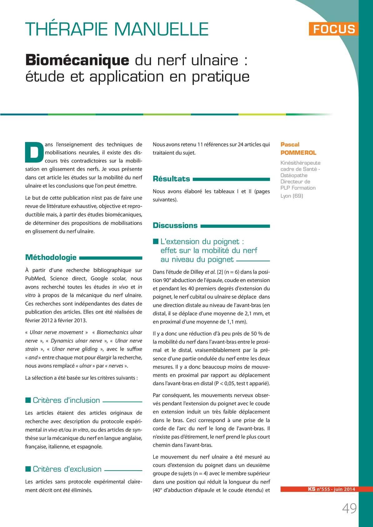 Biomécanique Du Nerf Ulnaire Et Application Au Niveau Des Mobilisations