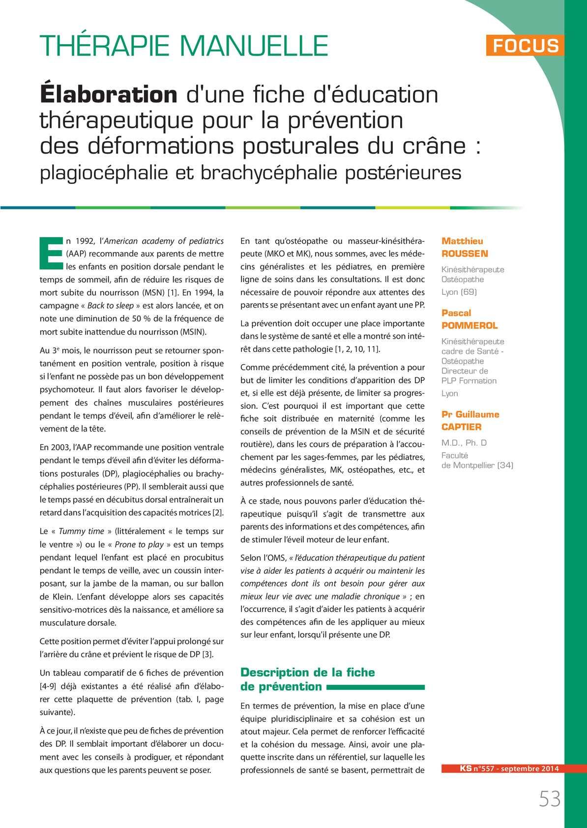 Prévention Des Plagiocéphalies Posturales