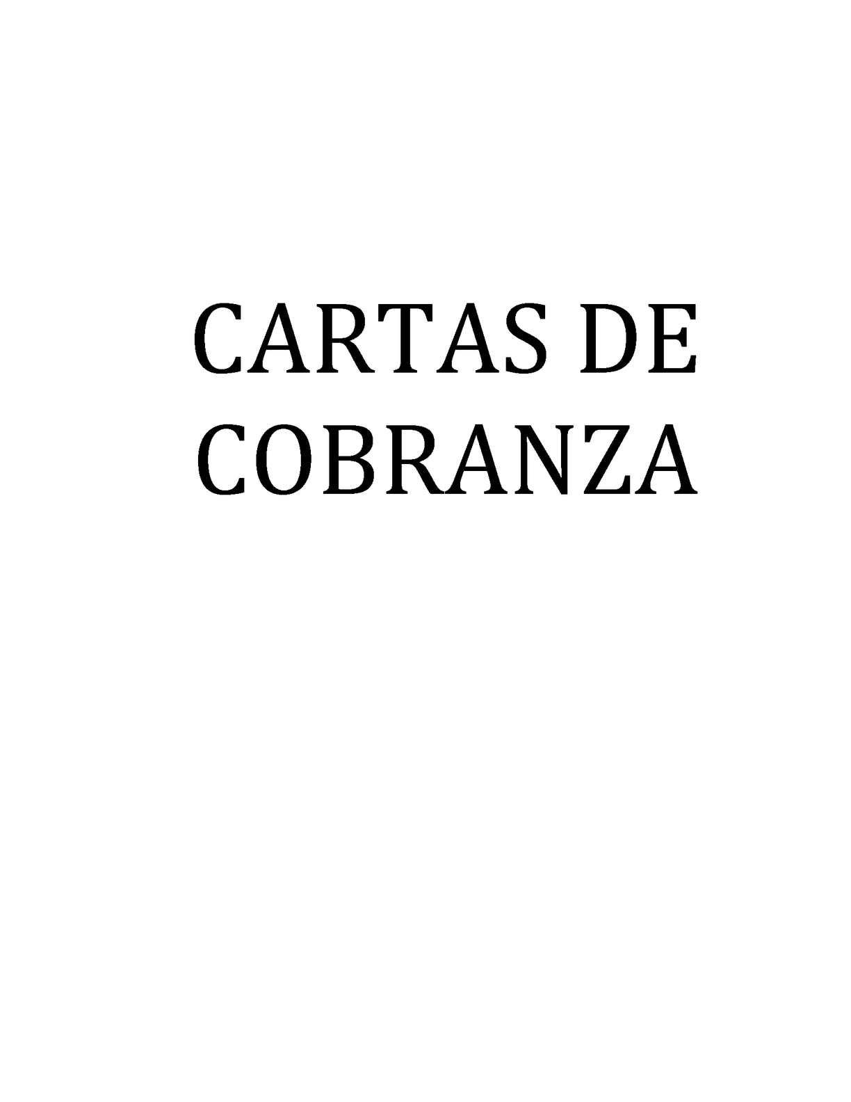 Cartas De Cobranza