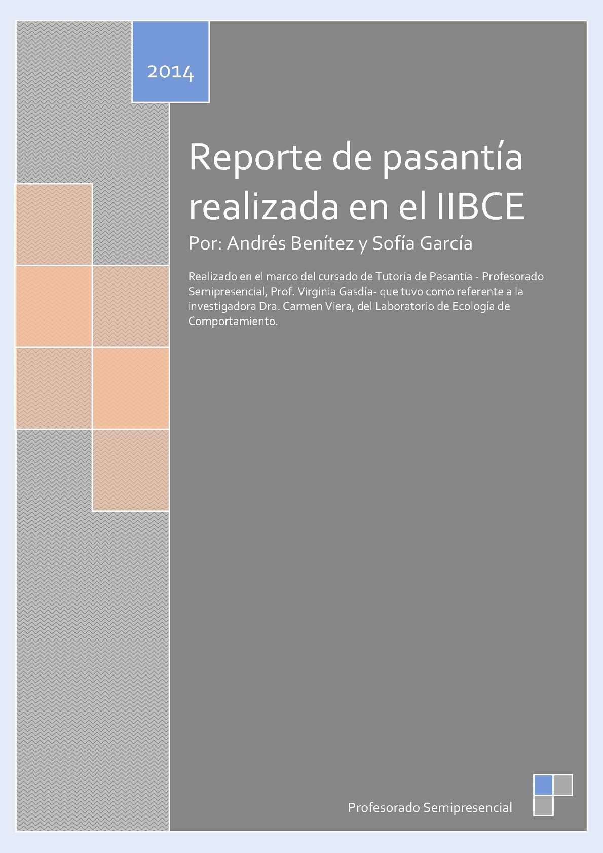 Calaméo - Reporte de pasantía realizada en el IIBCE Por: Andrés ...