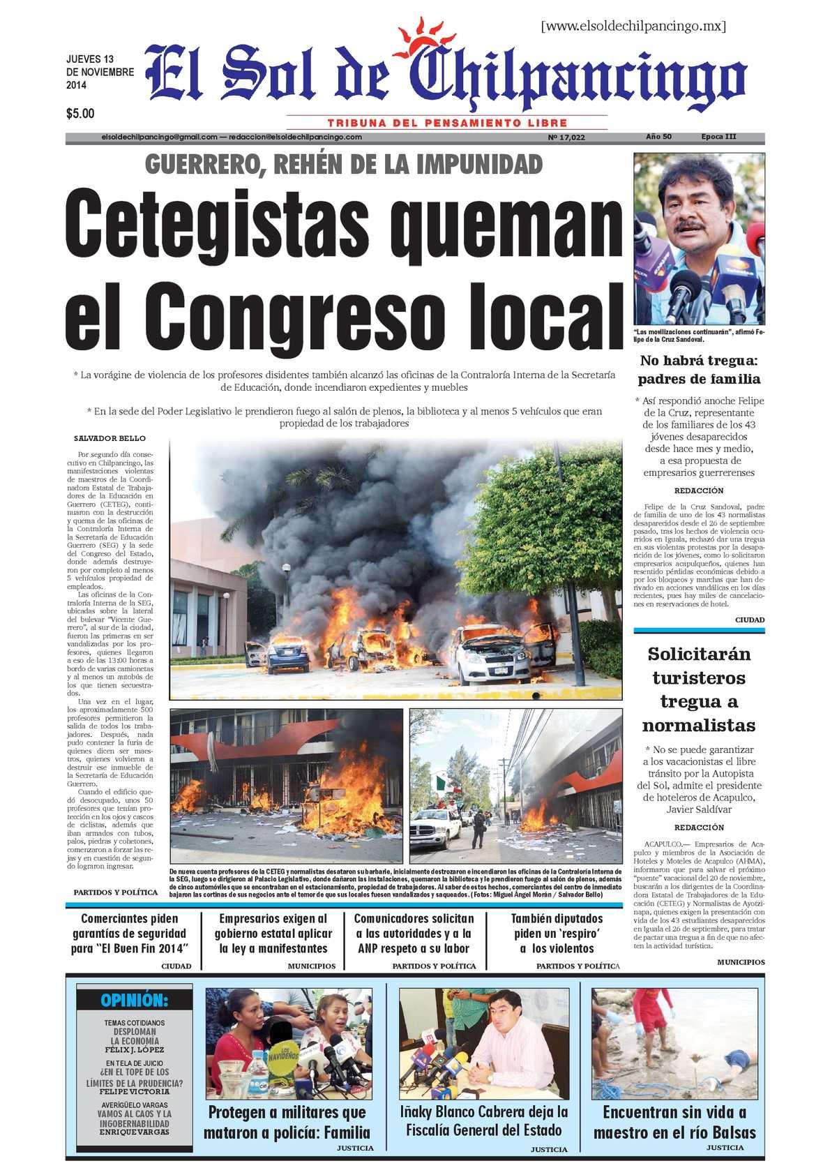 Calaméo - El Sol de Chilpancingo 13 Noviembre 2014