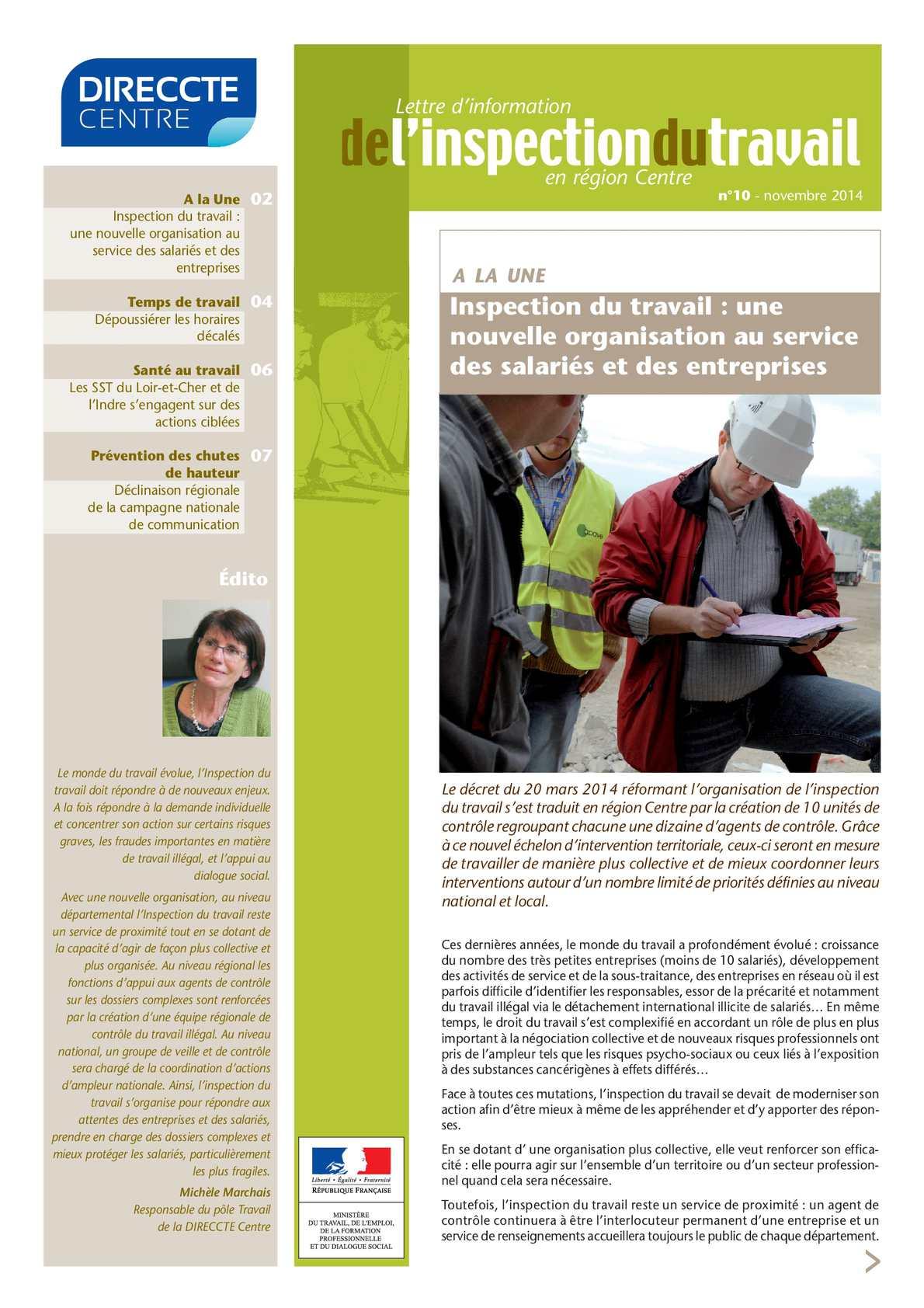 Calam o 10 lettre d information de l inspection du travail en r gion centre n 10 - Inspection du travail bourges ...