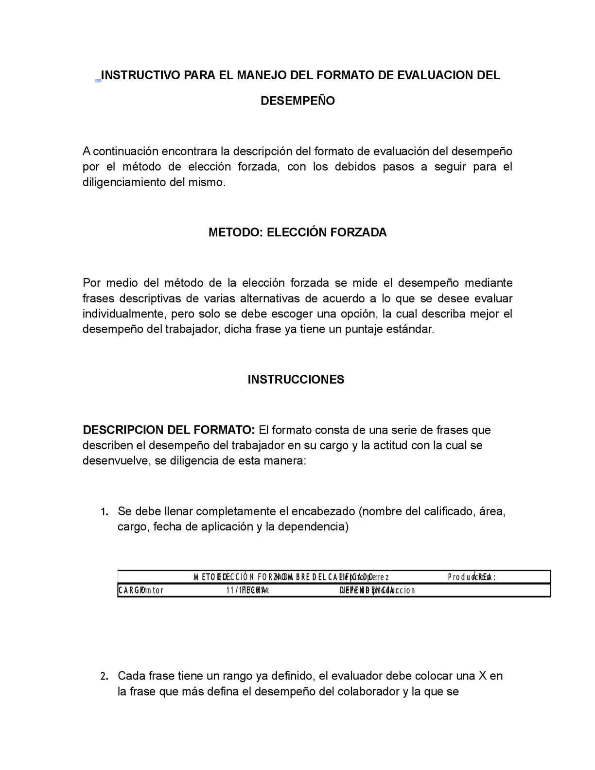 Calaméo - Instructivo Formato De Evaluacion Del Desempeño (1)