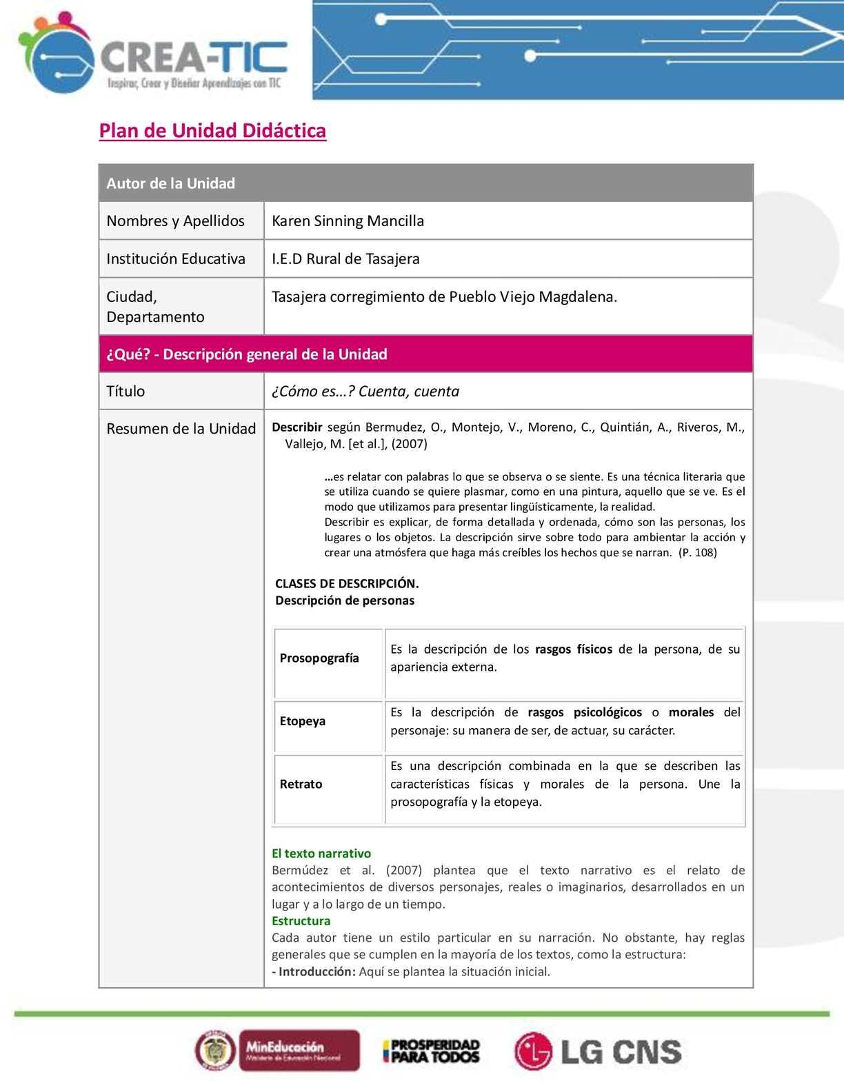 Calaméo - 0 Plantilla Plan De Unidad Didactica Individual