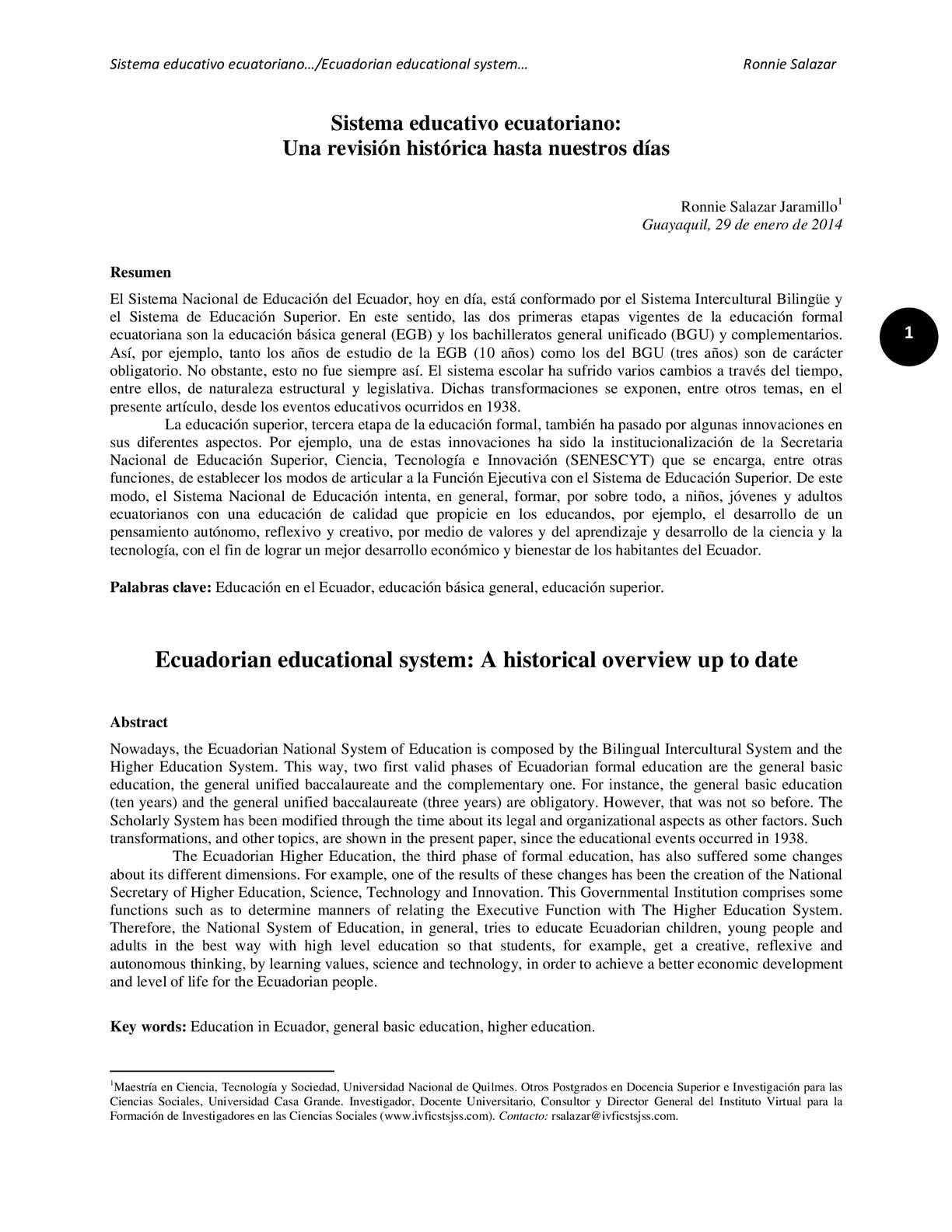Calaméo - Sistema educativo ecuatoriano: Una revisión histórica ...