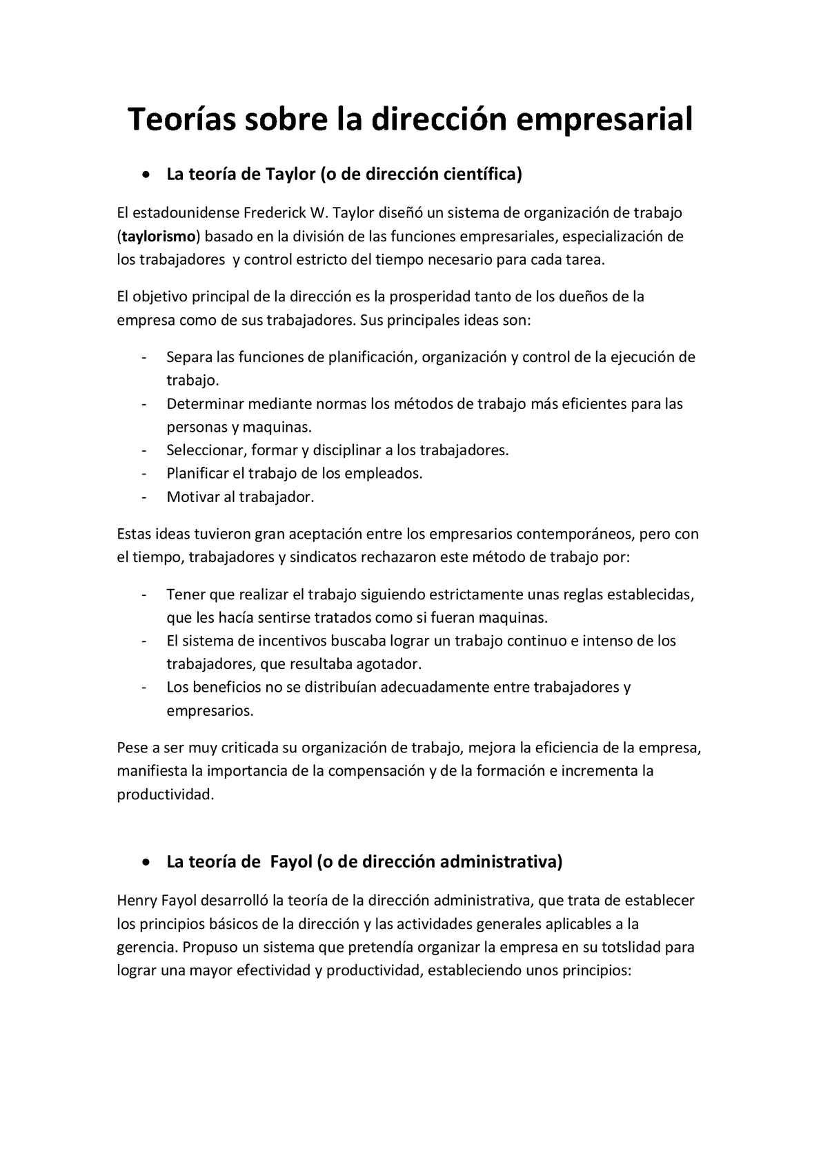 Funciones de la direccion de una empresa