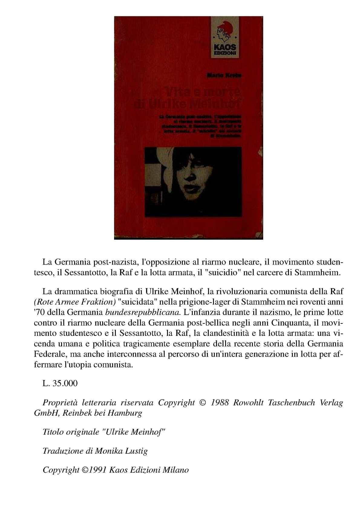 Vita E Morte Di Ulrike Meinhof - Mario Krebs