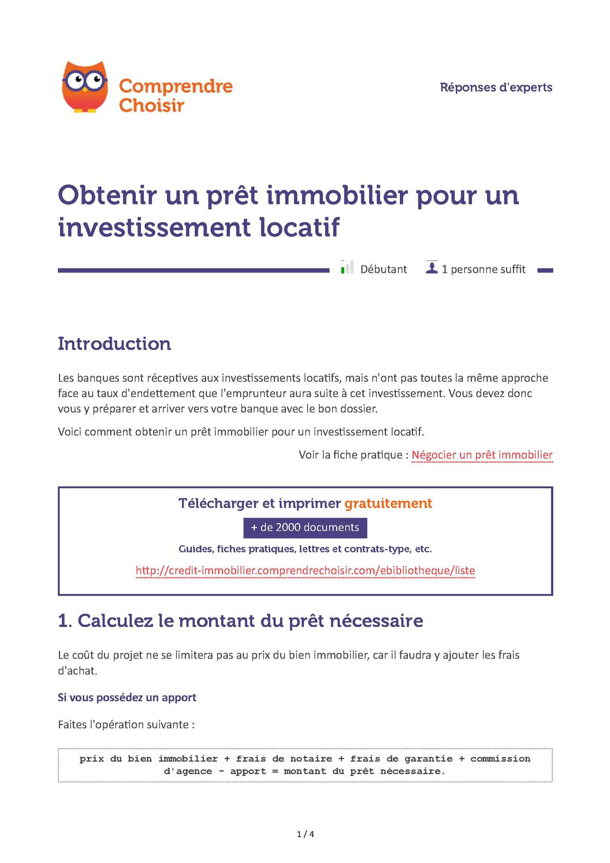 Calam o pret son obtention - Documents pret immobilier ...