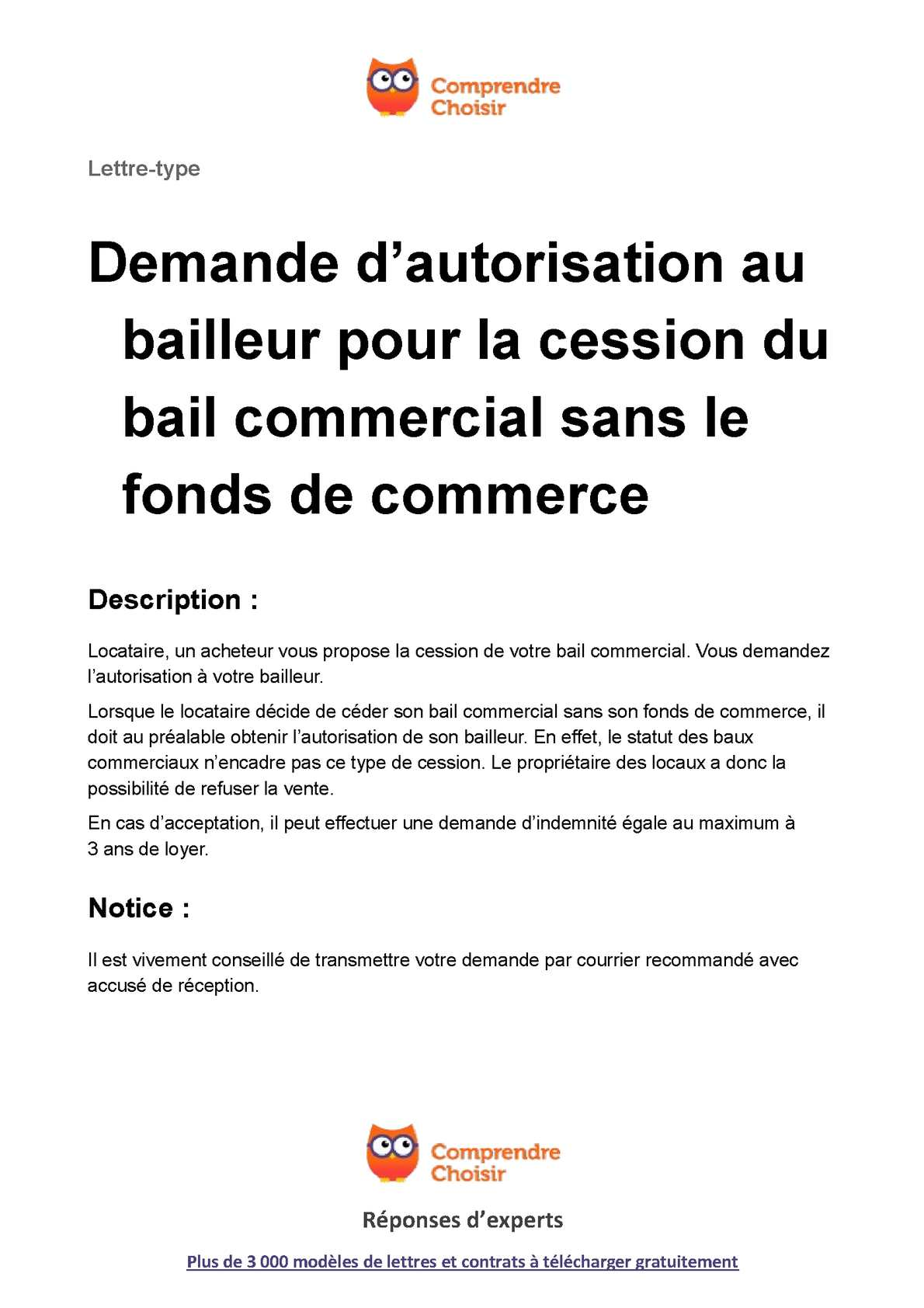 Bail commercial sans loyer