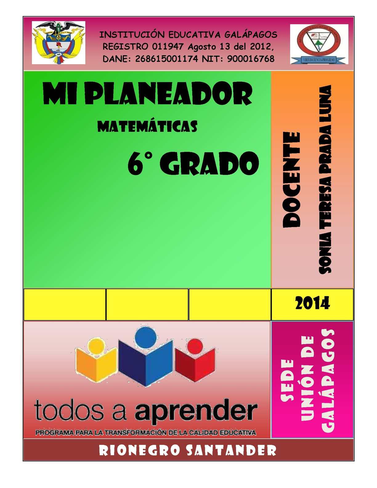 Libro Matematicas Sexto,