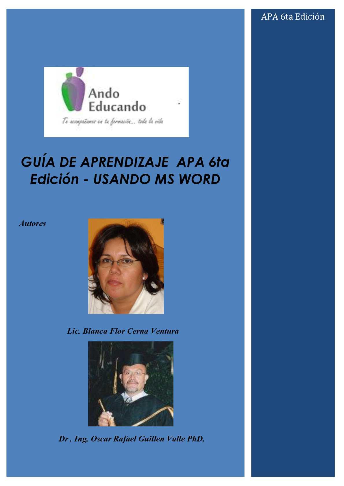 Guía APA 6ta edición para la elaboración de tesis de pre grado y postgrado