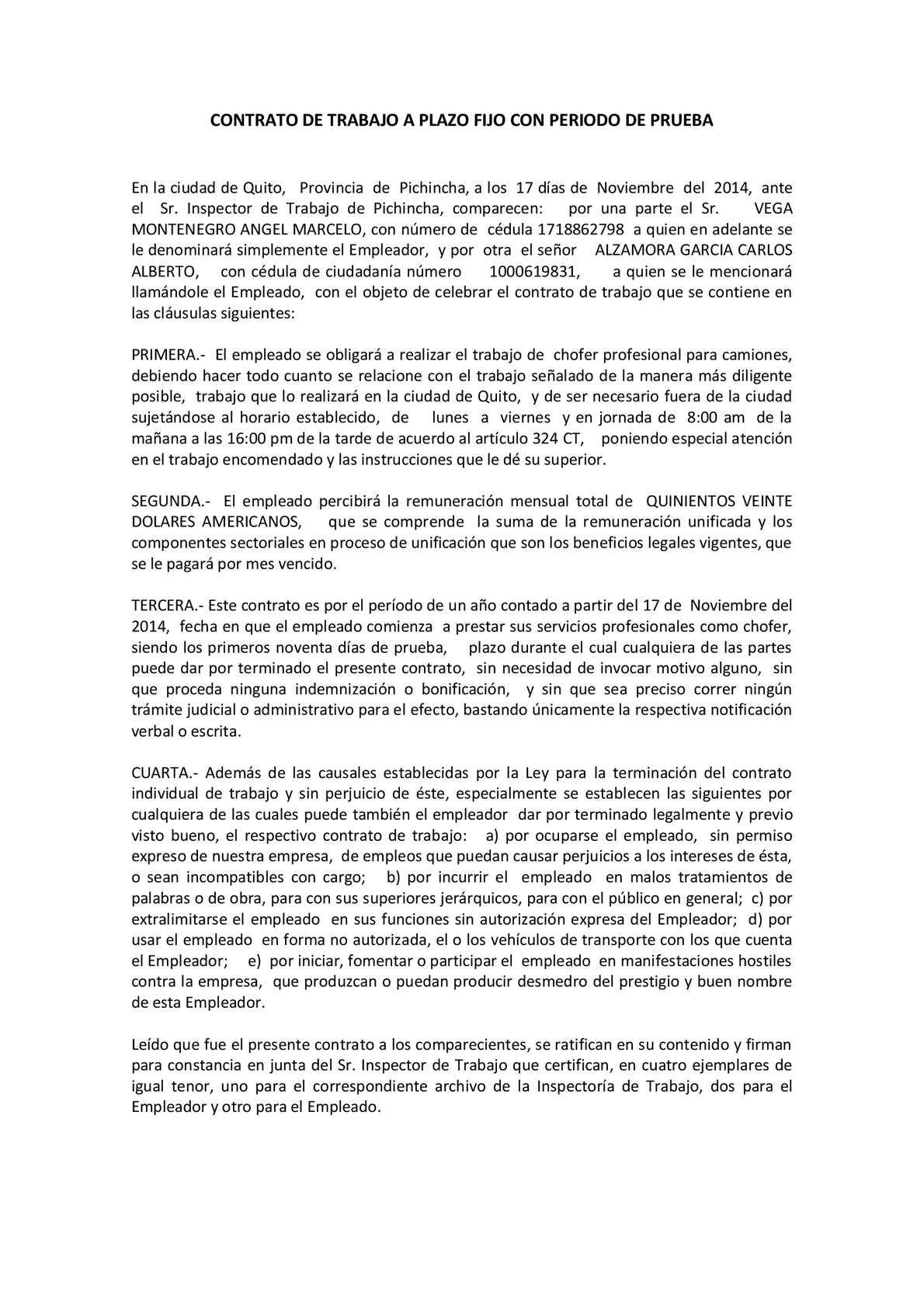Calam O Contrato De Trabajo A Plazo Fijo Con Periodo De: contrato trabajo