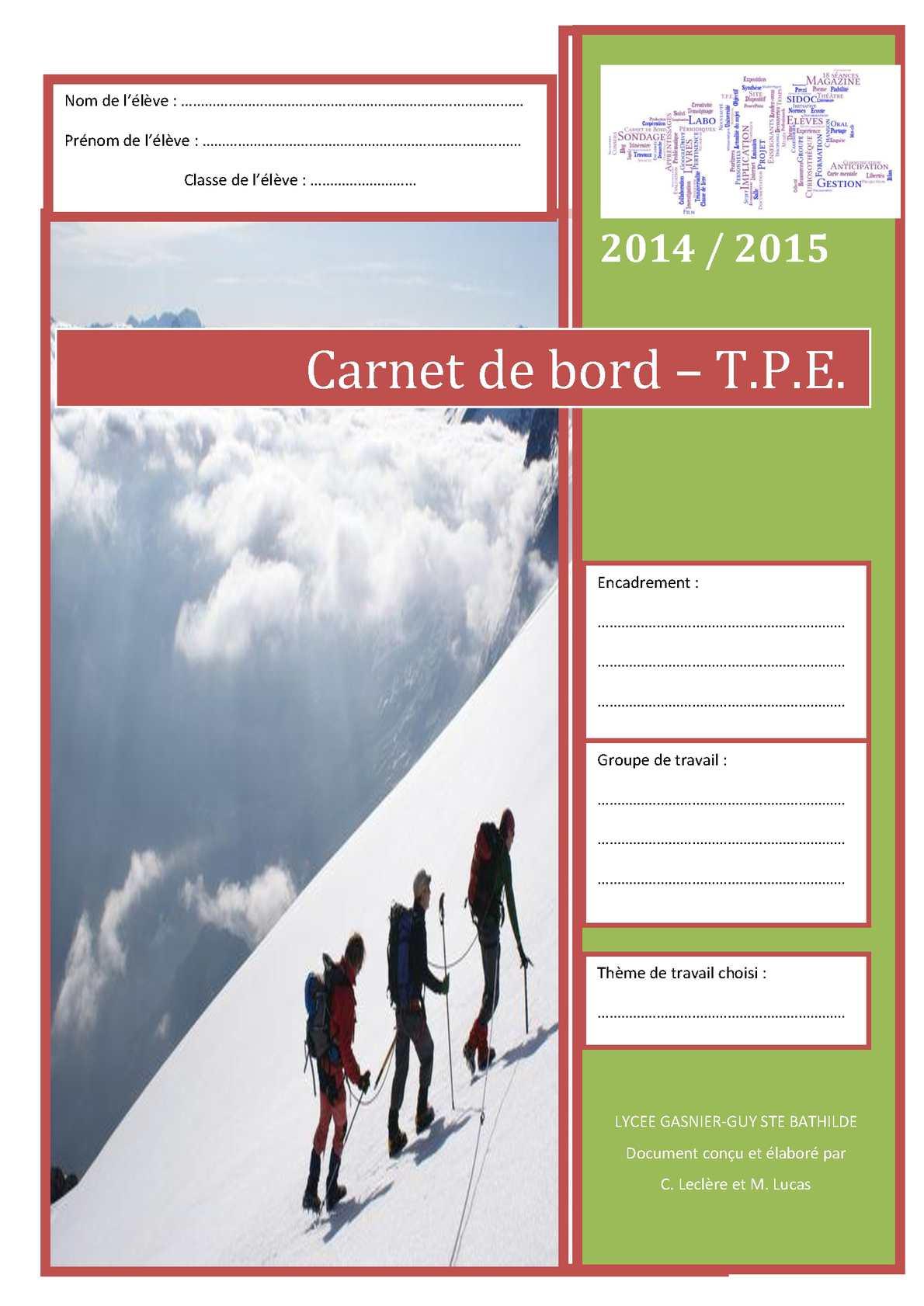 Berühmt Calaméo - Carnet De Bord Tpe 2014 2015 RQ22