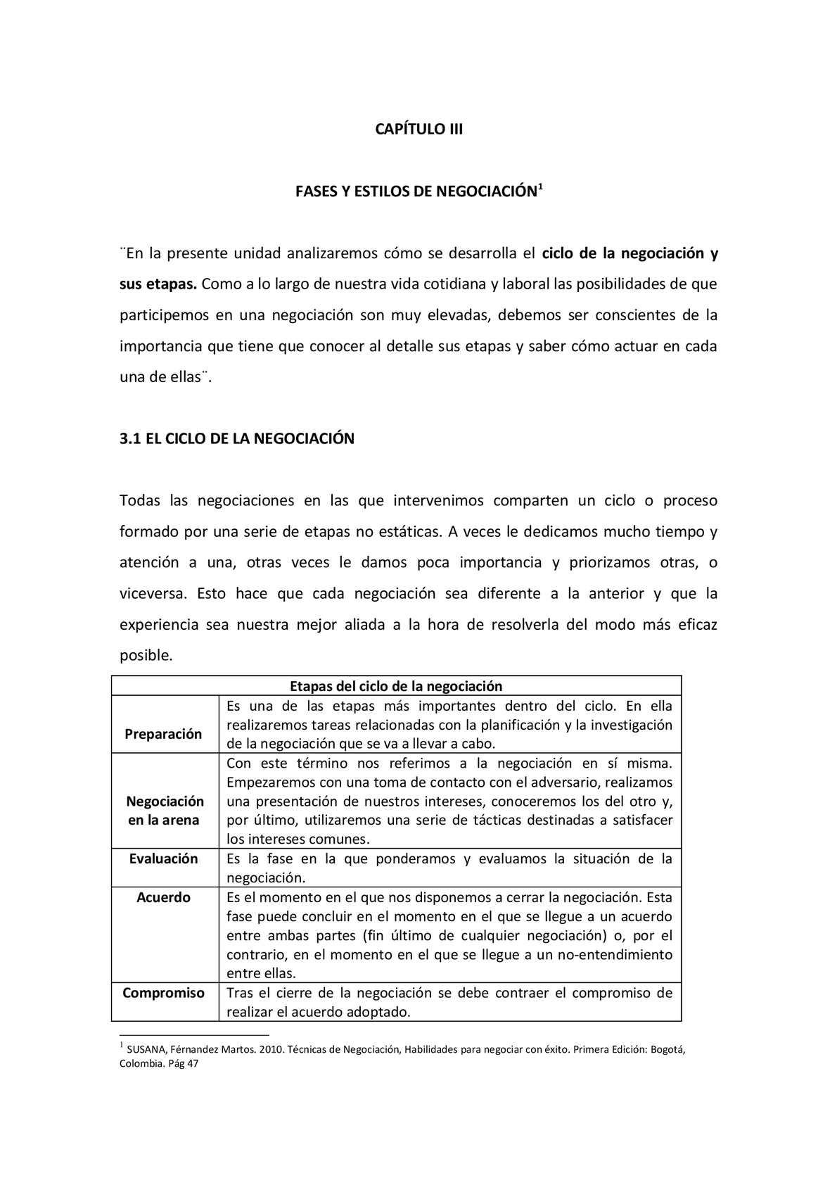 fases de negociación y Comunicación