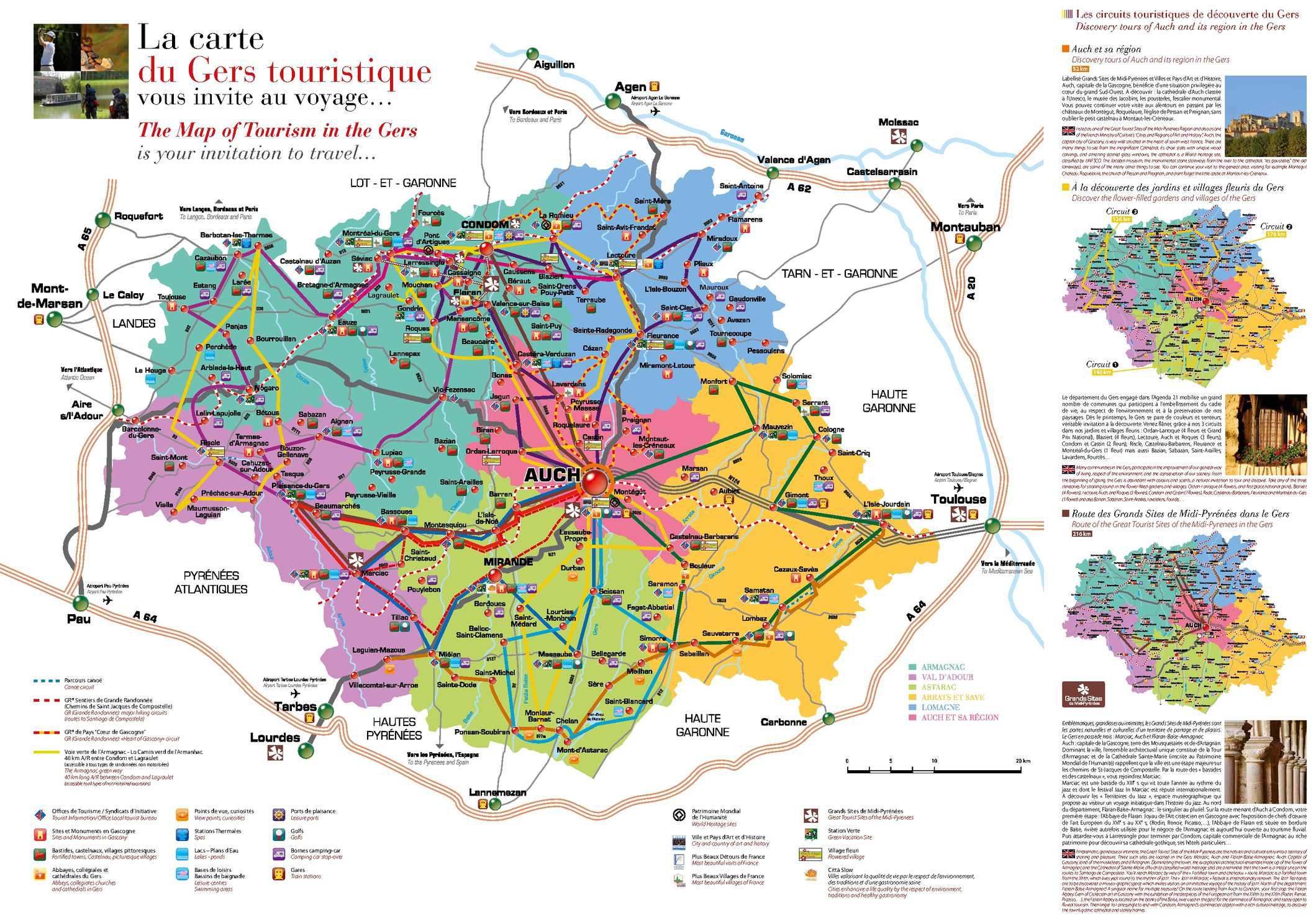 Gers carte touristique voyages cartes for Carte touristique