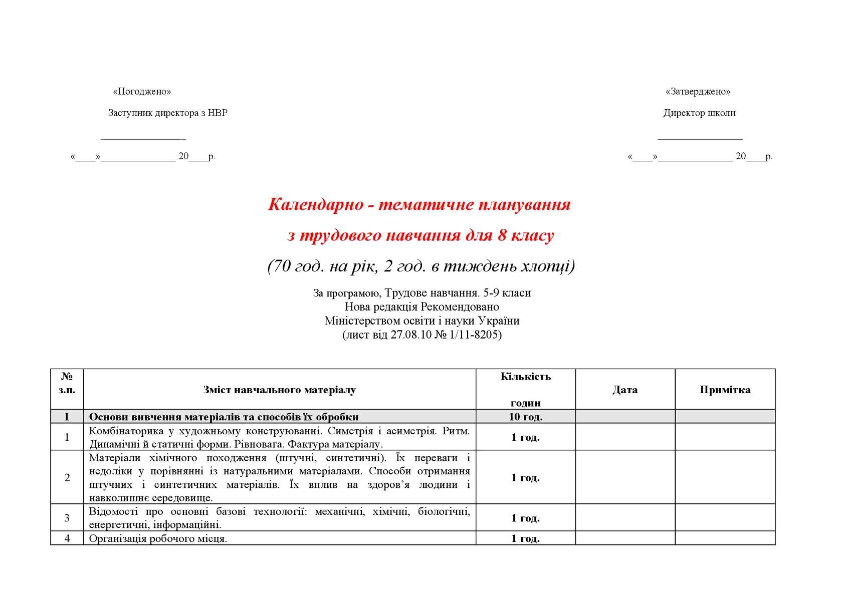 Календарно - тематичне планування.8 клас