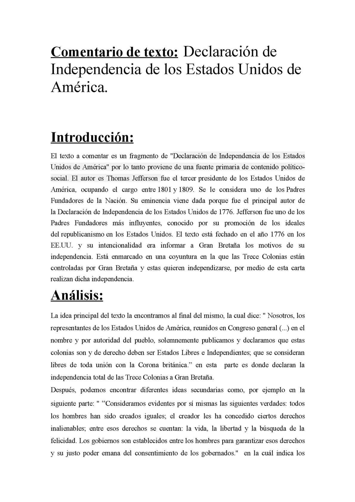 Calaméo - Comentario De Texto Declaración de Independencia de los EE UU