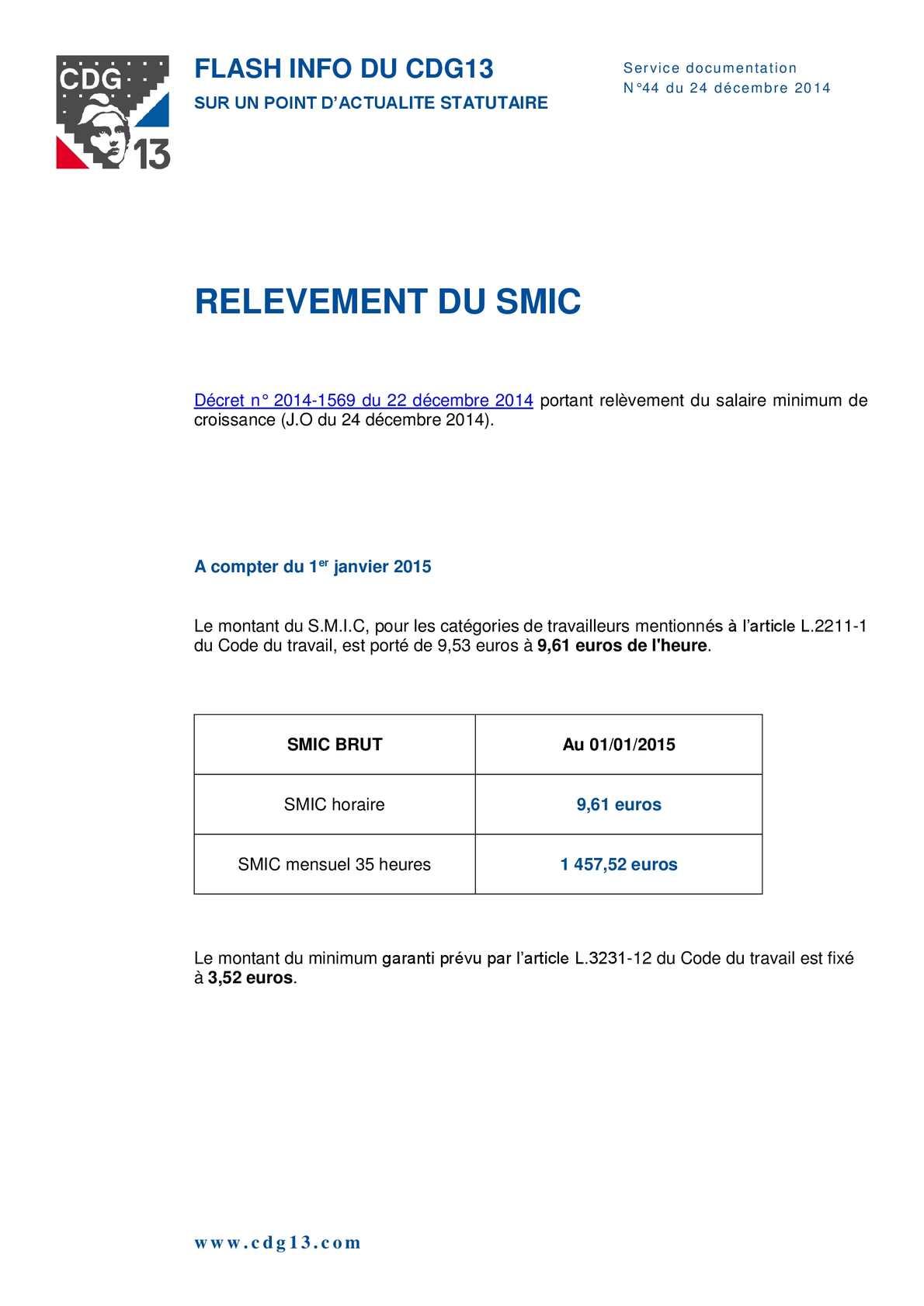 Calameo Relevement Du Smic 2015