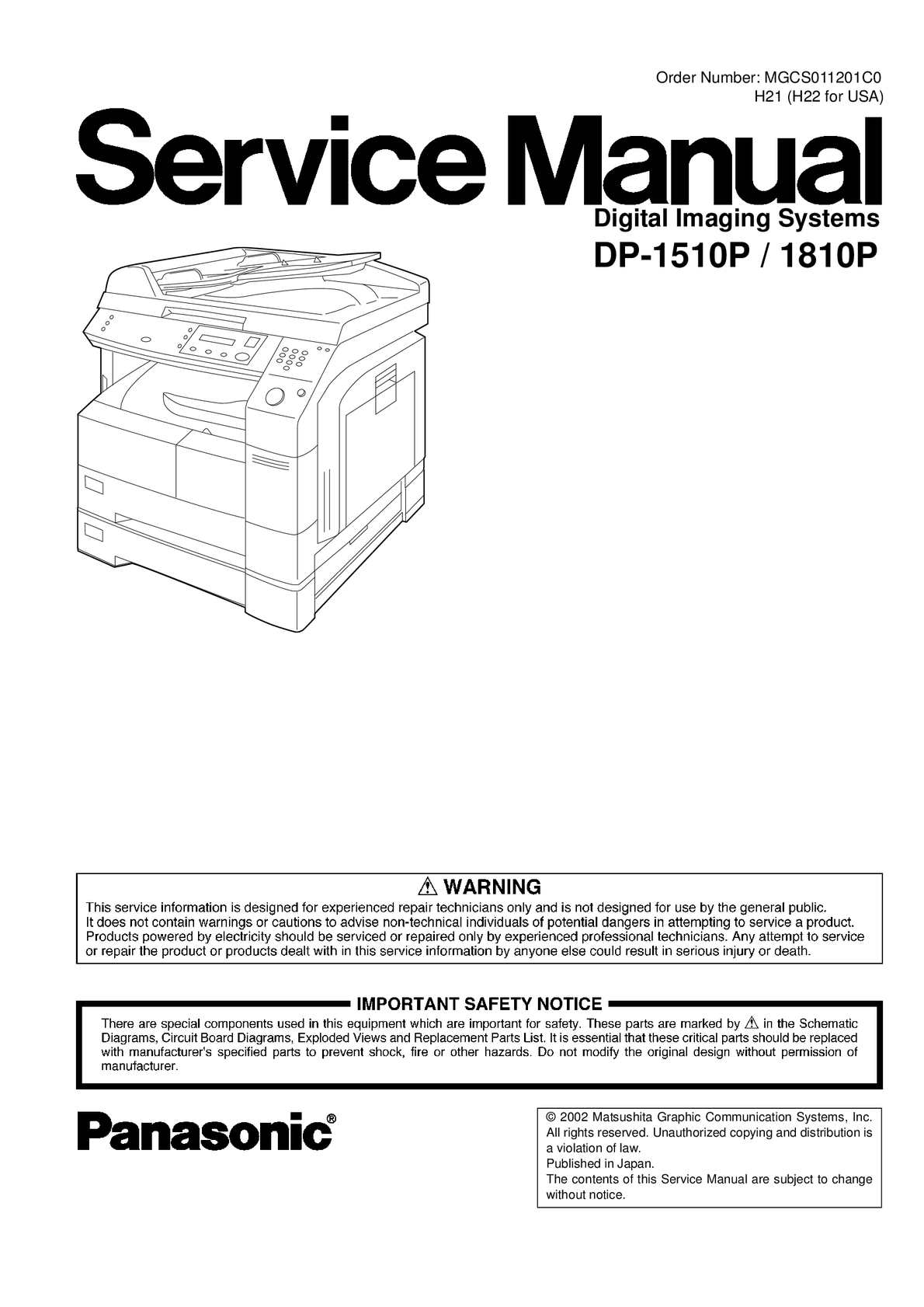Calamo Panasonic Dp 1510 1810 Service Manual Speaker Protection Circuit 2pcb Schematic Delay