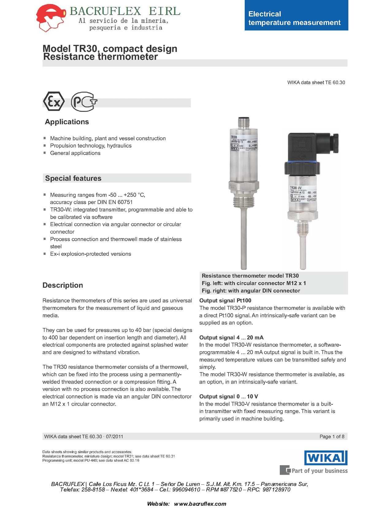 Calamo Tr30 Bacruflex Resistance Thermometer Wiring Diagram