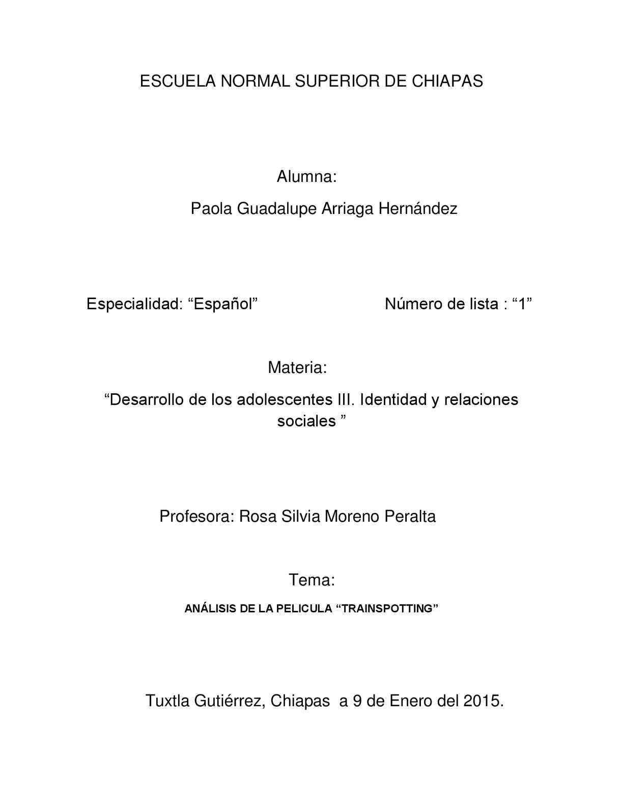 "Analisis De La Pelicula ""trainspotting"""