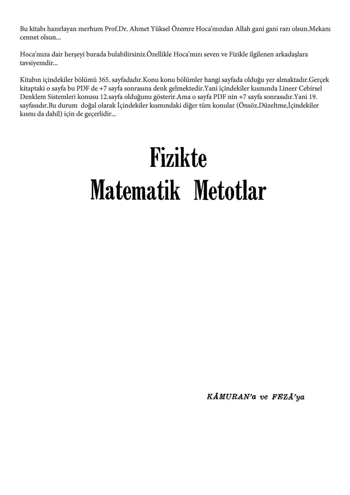Fizik'te Matematik Metodları - Prof.Dr. Ahmet Yüksel Özemre