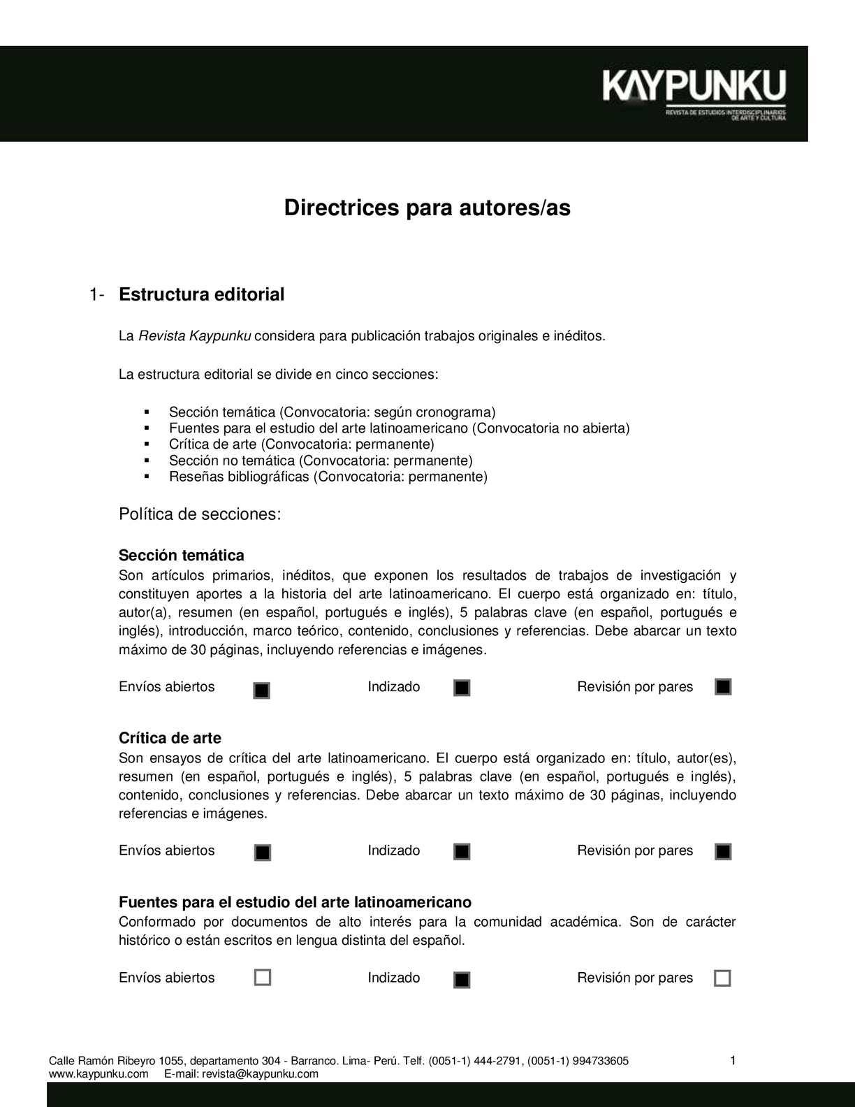 Calaméo - Directrices para autores/as. Revista Kaypunku
