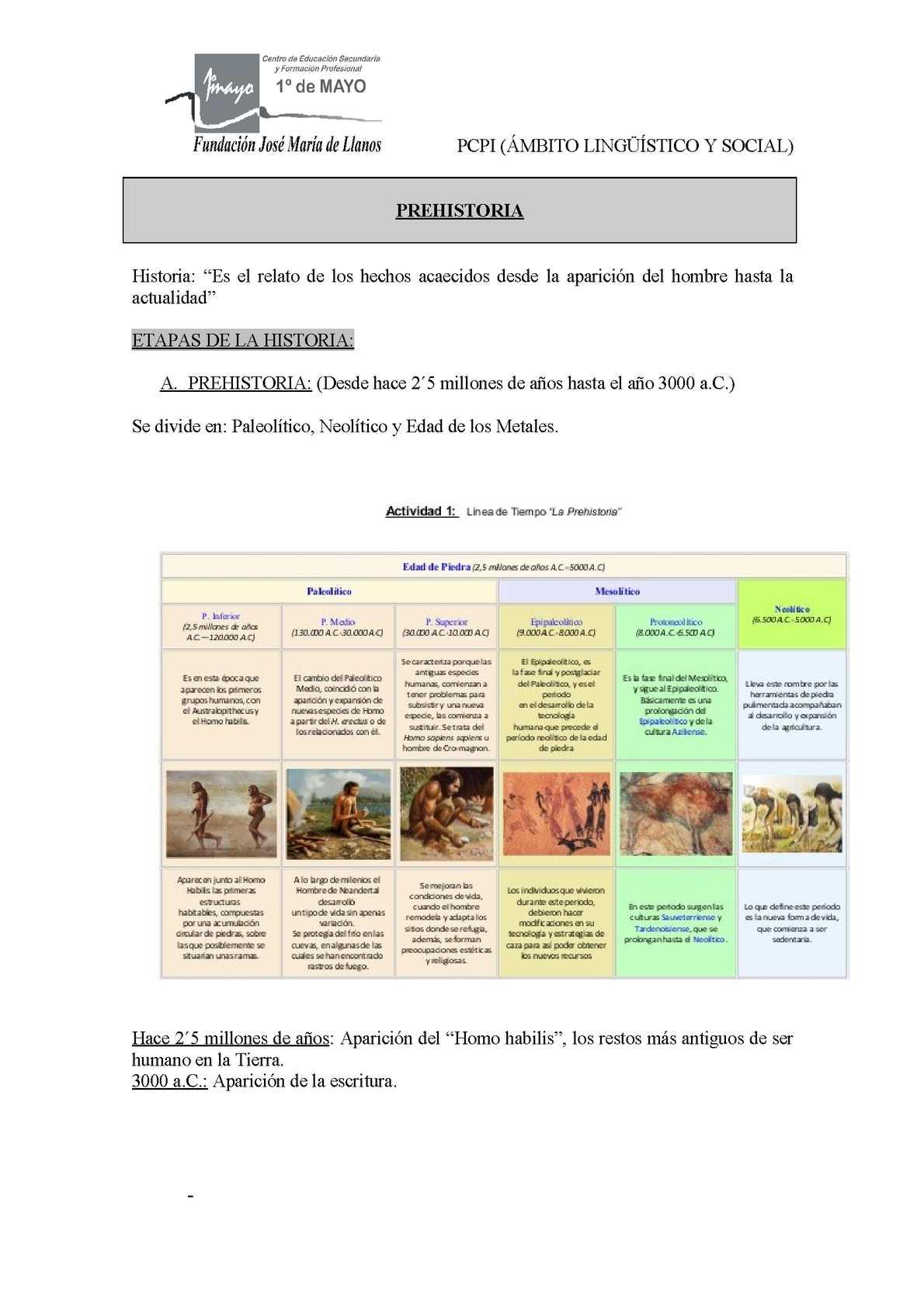 Prehistoria trabajo FPB elec
