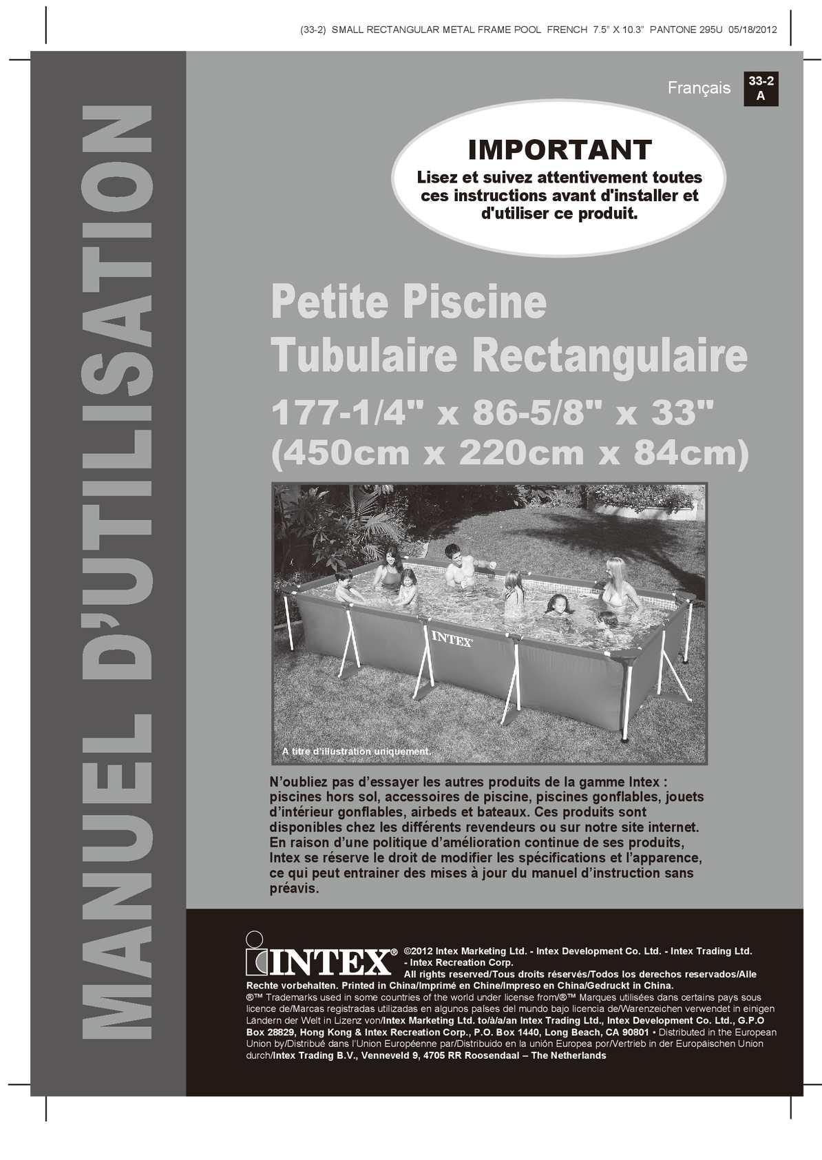 Calam o notice de montage piscine tubulaire intex metal - Petite piscine tubulaire ...