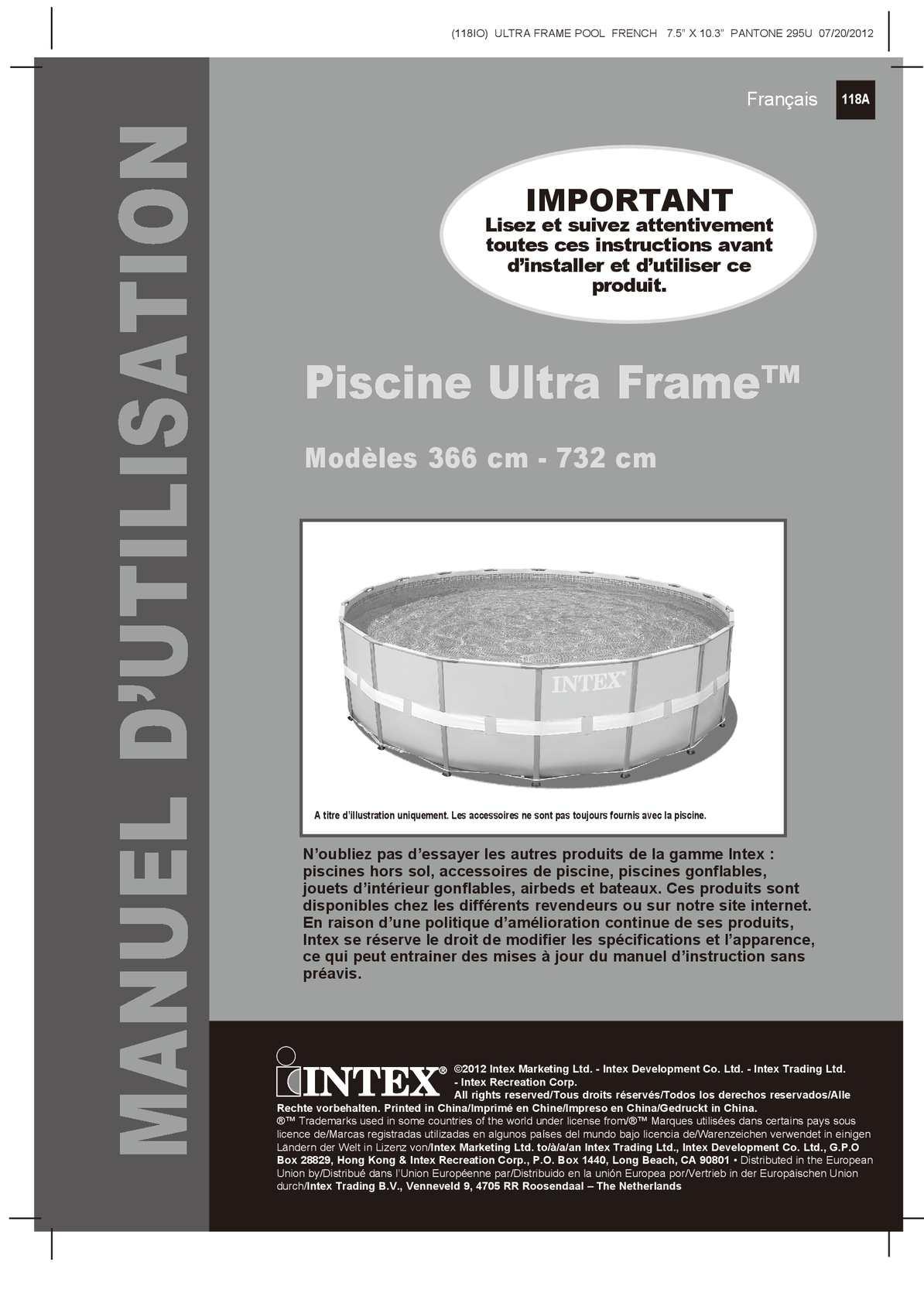 intex ultra frame pool instructions